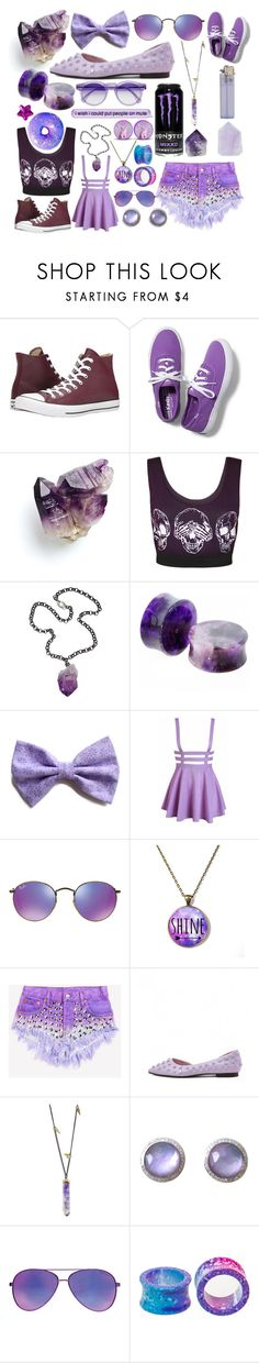 """""""Purple"""" by kaitlyncliffxrd ❤ liked on Polyvore featuring Converse, Keds, WearAll, Ali NY, Ray-Ban, Runwaydreamz, Jamie Joseph, Ippolita, Seafolly and Hot Topic"""