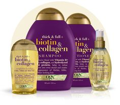 biotin & collagen The nutrient-rich, plump-it-up power of this haircare infused with ProVitamin B7 biotin + collagen helps give each strand a beautiful boost. This dynamic duo will leave your hair feeling thicker, fuller and looking oh, so healthy.