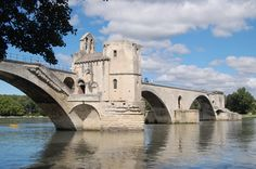 Avignon, France: A famous medieval  bridge spanning the Rhône between Villeneuve-lès-Avignon and Avignon was built between 1177 and 1185. This early bridge was destroyed forty years later during the Albigensian Crusade when Louis VIII of France laid siege to Avignon. The bridge was rebuilt with 22 stone arches. It was very costly to maintain as the arches tended to collapse when the Rhône flooded. Eventually in the middle of the 17th century the bridge was abandoned.
