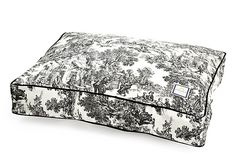 Toile Dog Bed, Black