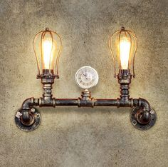 Double Head Loft Vintage Industrial Wind Wall Lamp Study Balcony Restaurant Bar Iron Water Pipe Wall Light Free Shipping #Affiliate