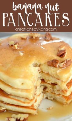 Soft and tender banana pancakes loaded with pecans. A delicious way to start the day, and a great way to use up overripe bananas! #bananapancakes #banananutpancakes #overripebananas #bananas -from Creations by Kara How To Pancakes, Banana Nut Pancakes, Banana Bread, Chef Recipes, Dessert Recipes, Pancake Recipes, Family Recipes, Easy Recipes, Desserts