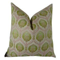 Plutus Tulip Handmade Throw Pillow, Green