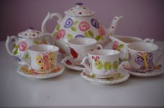 Garden Party Tea Party Personalized Little Girl's Tea set by hollyslay, $80.00