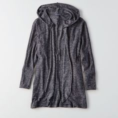 AE Plush Hooded Cardigan ($40) ❤ liked on Polyvore featuring tops, cardigans, grey, cardigan top, hooded cardigan, grey open front cardigan, hooded top and open front cardigan