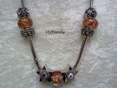 Hochwertige Elemento Schlangenkette mit Clipverschluss  mit wunderschönen Strass-Beads; Glasbeads, Stopper und Elemento Beads in braun-silber    Die B