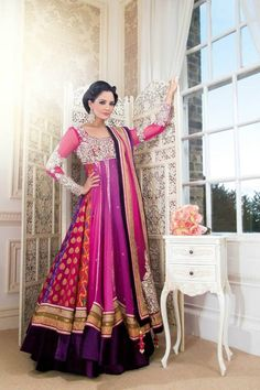 purple and pink and red floor length anarkali