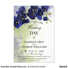 Elegant and artistic Wedding invitation design featuring a stunning watercolor dark blue orchid flower and watercolor green and dark blue color splash in the background. Personalize by changing the text details. Watercolor Wedding Invitations, Elegant Wedding Invitations, Bridal Shower Invitations, Blue Orchid Flower, Blue Orchids, Floral Wedding, Wedding Colors, Wedding Cards, Wedding Day