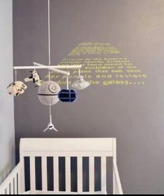 Crocheting a Star Wars themed mobile.