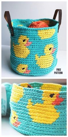 Crochet basket 26810560270901447 - Tapestry Crochet Rubber Ducky Basket Free Crochet Pattern Source by OlympeAbrantes Crochet Diy, Crochet Simple, Crochet Amigurumi, Crochet Home, Love Crochet, Crochet For Kids, Beautiful Crochet, Crochet Crafts, Crochet Projects