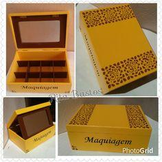 Caixa de maquiagem em mdf com divisórias e espelho