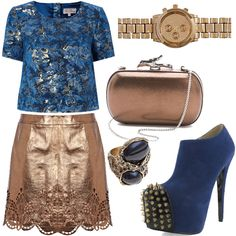 Gold leather and blue brocade