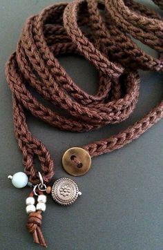 Brown crochet wrap bracelet with charms, cuff bracelet, bohemian jewelry…