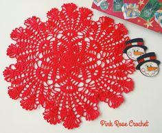PINK ROSE CROCHET: Centrinho Estrela Vermelho Natal