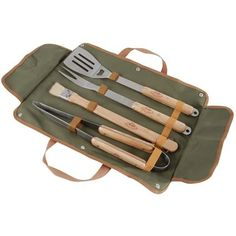 picture of Ash Wood 4-Piece BBQ Cooking Set