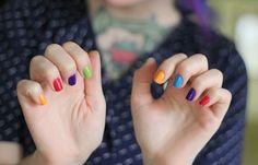 Bright colorful nails.