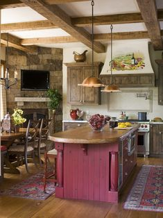 Rustic + French country kitchen....LOVE this! with fireplace in the corner .....sigh