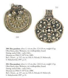 "Silver pendants found in Obra Nowa, Poland. Culture: Slavic (West Slavs - early Polish state / Piast dynasty) Timeline: late 10th - early 11th century Source: ""Skarby wieków średnich"" exhibition album, 2007."