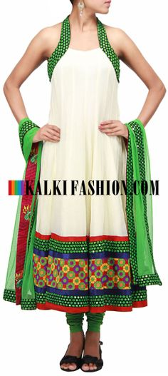 Buy Online from the link below. We ship worldwide (Free Shipping over US$100)  http://www.kalkifashion.com/catalog/product/view/id/10199/s/cream-anarkali-suit-embellished-in-mirror-work-only-on-kalki/ Cream anarkali suit embellished in mirror work only on Kalki
