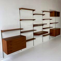 Wall unit by Kai Kristiansen for Feldballes Møbelfabrik, Denmark 1960s Furniture, Furniture Ideas, Mid Century Wall Unit, Clothing Store Design, Library Wall, Wall Storage, Built Ins, Bookshelves, Floating Shelves