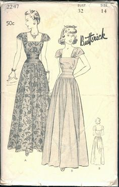 Beautiful Unused Vintage 1940s Butterick 2247 by NostalgieVintage
