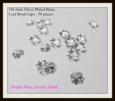 10x3mm Silver Plated Brass Leaf Bead Caps  by StacyJewelrySupply, $2.74