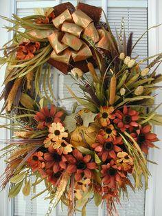 Fall Autumn Thanksgiving Pumpkin Mustard Yellow Burnt Red Daisies Tuscan Woodsy…