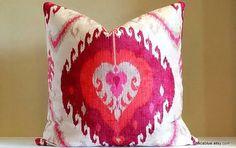 medallion pillow pink orange