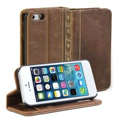 Amazon.com: iPhone SE Case, GMYLE Book Case Vintage for iPhone SE / 5 / 5S - Brown PU Leather Stand Case Cover: Cell Phones & Accessories