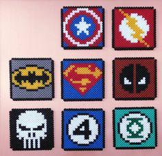 Dessous de verre carré, Perles HAMA, Logo Marvel DC