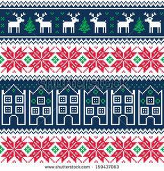 Winter Christmas pattern with reindeer by RedKoala #red #navy #deer #seamless