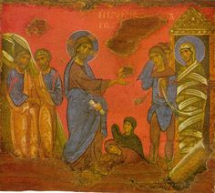 """The Raising of Lazarus (Dr. Ian Paisley on John Jesus Christ """"I am the Way, the Truth, and the Life, and no one comes to the Father except by Me. Byzantine Art, Byzantine Icons, Raising Of Lazarus, John Chrysostom, Religious Paintings, Religious Icons, Catholic Art, High Art, Orthodox Icons"""