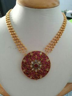 3 layers small gold beads necklace with heavy burmese ruby pendant. Pendant is studded with rubies and uncuts in a round flower shape. Ruby Jewelry, India Jewelry, Bridal Jewelry, Beaded Jewelry, Jewelery, Beaded Necklace, Kerala Jewellery, Indian Necklace, Handmade Jewelry