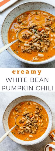 Creamy White Bean and Turkey Pumpkin Chili: Fall comfort food to love, with crea. - Creamy White Bean and Turkey Pumpkin Chili: Fall comfort food to love, with creamy pumpkin puree si - Chili Recipes, Soup Recipes, Cooking Recipes, Healthy Recipes, Recipies, Oven Recipes, Meatloaf Recipes, Shrimp Recipes, Salmon Recipes
