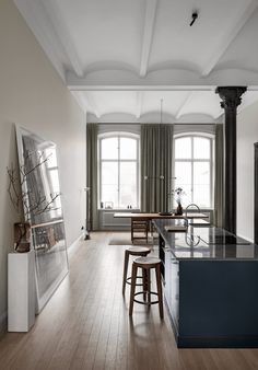 Contemporary kitchen design in a classic room