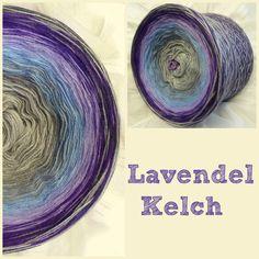 Lavendel-Kelch 100% Hochbauschacryl 6 Farben: aluminium stahlgrau mittelblau orchid lila graphit Am Ende graphit-lila-stahlgrau-aluminium daher nur 4 fädig wickelbar!