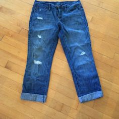 Loft jeans- distressed I've worn these a few times.  Perfect paired with a white t shirt and a pair of converse!  Size 4 LOFT Jeans Boyfriend