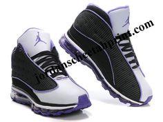 Air Jordan 13 Net Women Shoes Black/White/Purple For Sale