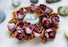 """Купить Браслет """"Мадлен"""" - комбинированный, браслет, Браслет ручной работы, розы, бордовый, модный, цветы"""