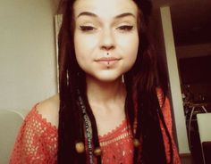 girl, medusa, vertical labret,septum, dreads, dreadlocks<3