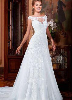 Robe de mariée manche courte avec manches appliques dentelle naturel - photo 1