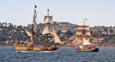 Hawaiian Chieftain, right, sails with Lady Washington near Sausalito. #travel #sailing #ships http://historicalseaport.org/