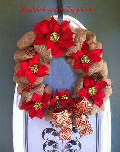 Burlap Wreath with Poinsettias