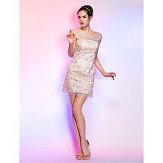 スレンダーライン+カクテルパーティー/ホームカミング/ホリデー/卒業式+ドレス+ピンク+ラウンドネック+ショート+/+ミニ+大きいサイズ+–+JPY+¥+10,445