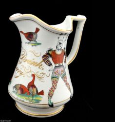 English White Ironstone Puzzle Jug DRINK & BE MERRY Harlequin Staffordshire