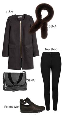 coat by H&M, bag and collar by GENA, trousers by Top Shop and leather glossy shoes by Follow Me