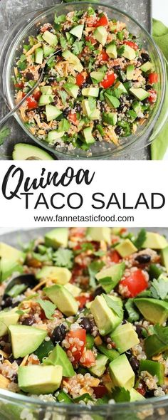 This quinoa taco salad is such an easy healthy dinner or packed lunch The recipe is really just a method - feel free to get creative with it easy lunch ideas healthy packed lunch healthy vegetarian dinner ideas Lunch Healthy, Healthy Packed Lunches, Healthy Salad Recipes, Easy Healthy Dinners, Healthy Drinks, Packed Lunch Ideas, Easy Healthy Lunch Ideas, Quinoa Lunch Recipes, Vegan Recipes