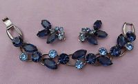 Vintage Set Lot JULIANA Silver Blue DeLizza & Elster RhineStone Bracelet Earring