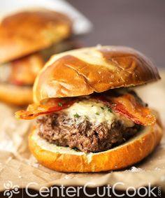 Bacon Parmesan Garlic Burgers