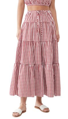 Check Printing, Gingham Check, Spring Sale, China Fashion, Timeless Elegance, Lucca, Ankle Length, Red And White, Midi Skirt